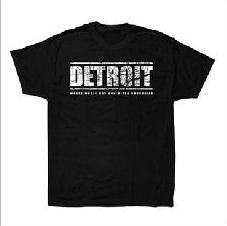 AUX 88 - T-shirt 'DETROIT' BLACK w/GREY LOGO: Size LARGE