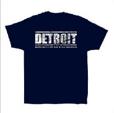 AUX 88 - T-shirt 'DETROIT' NAVY w/GREY LOGO: Size LARGE