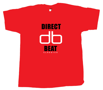 DIRECT BEAT - 'db Classics' T-shirt RED w/BLACK & WHITE LOGO